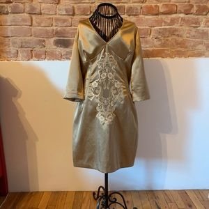 Gold fitted Dolce and Gabbana mini dress